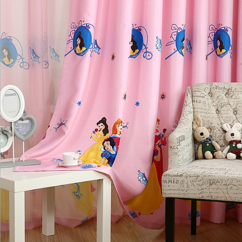 Princess Blackout Curtains textiles Pink Sheer Tulle Curtain ...