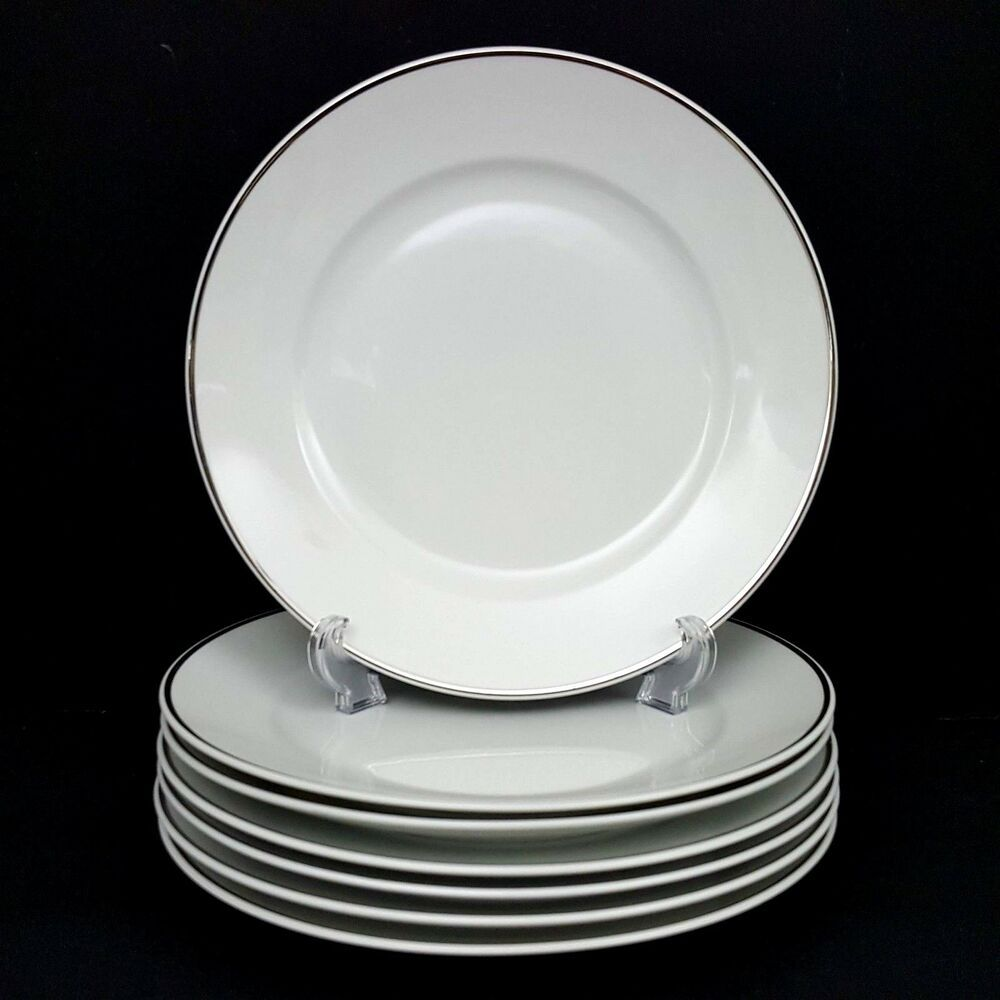 Rosenthal 3471 Aida 7 Dinner Plates White Platinum Band 10 In Great Cond Vintage Rosenthal White Dinner Plates Vintage Pottery Pottery