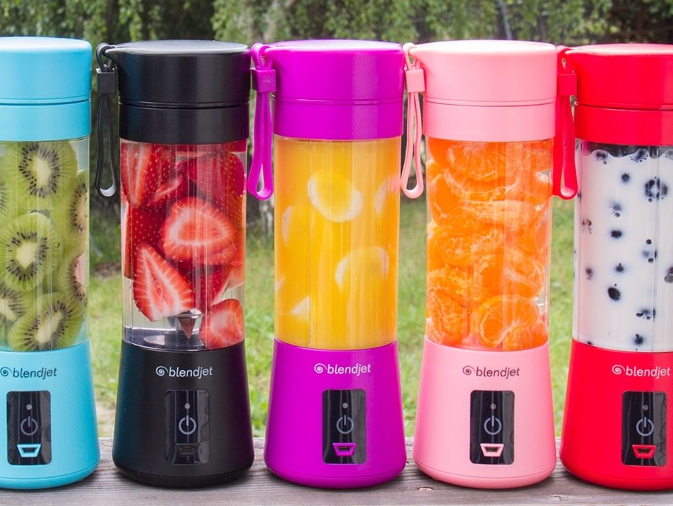 Six brightly-colored BlendJets with fruity mixtures inside