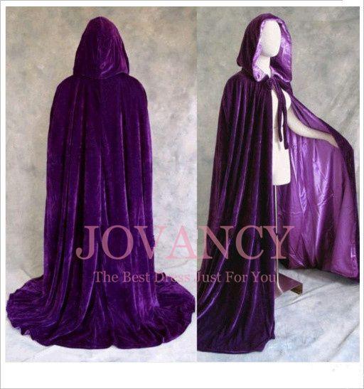 ca9b4530bb Royal Gothic Red Purple Black Green Long Winter Wedding Cloak Cape Velvet  Wicca Party Riding Hood