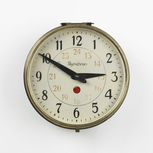 Peter Behrens Synchron Wall Clock A E G Germany C 1915 Enameled Steel Glass Brass 10 5 Dia X 4 D Inches Enameled Steel Behrens Wall Clock