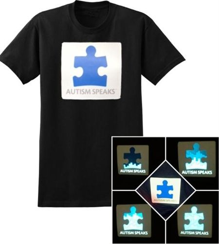 2013 SOUND ACTIVATED LIGHT UP AUTISM SPEAKS T-SHIRT