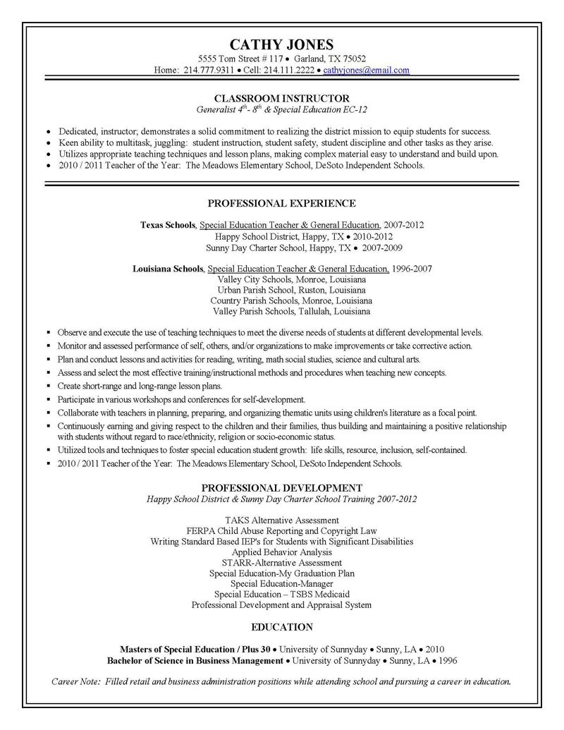 sample teacher resumes | Special Education Teacher Resume Sample ...