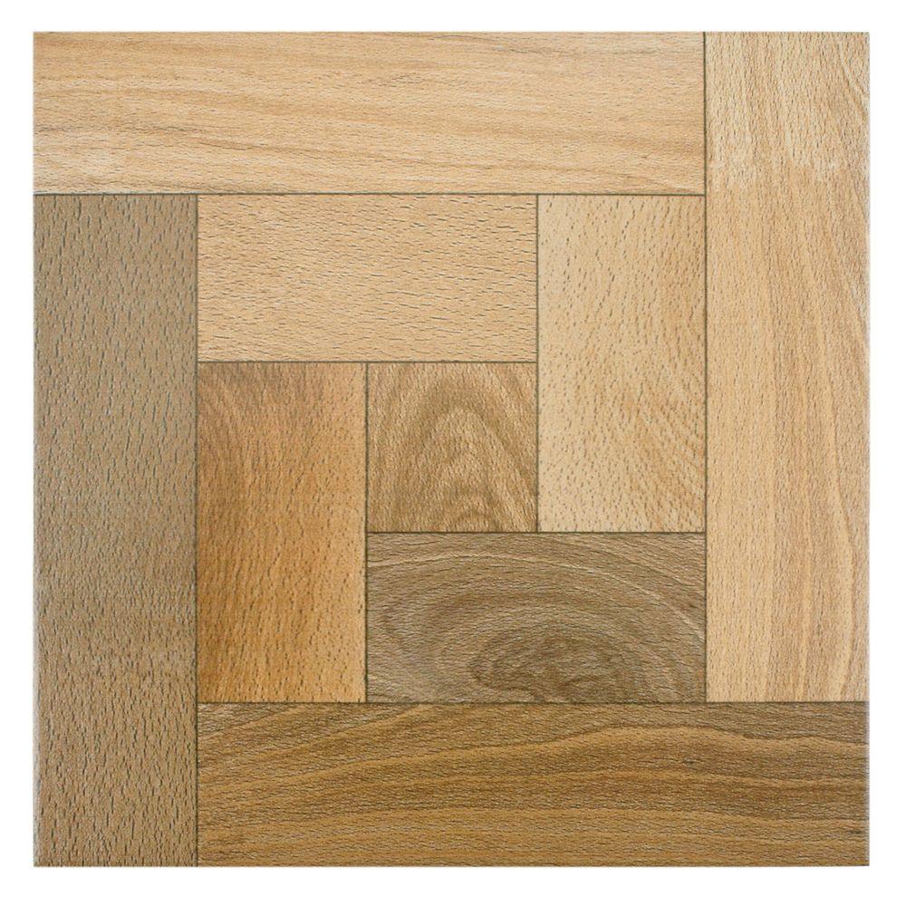 SomerTile 12.5 x 12.5 Cobi Nogal Wood-Look Ceramic Floor and Wall ...