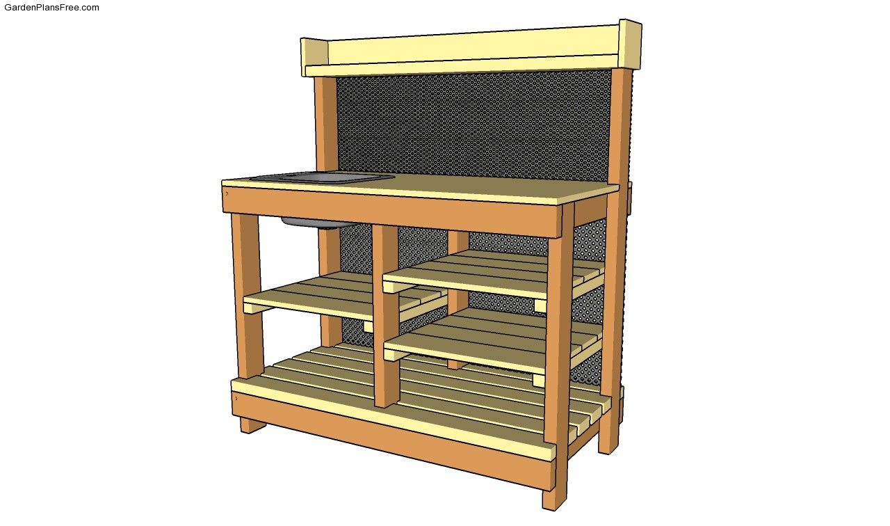 Potting Bench Plans With Sink Gardening Potting Bench
