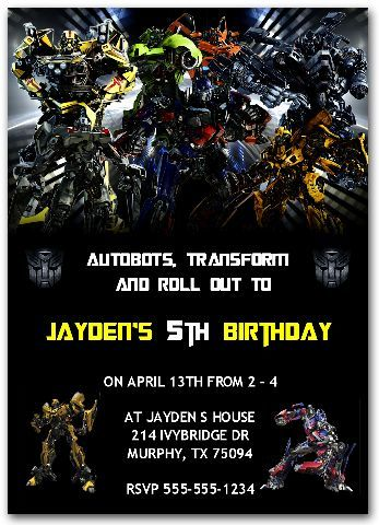 Transformers Invitations transformersinvitation transformersparty