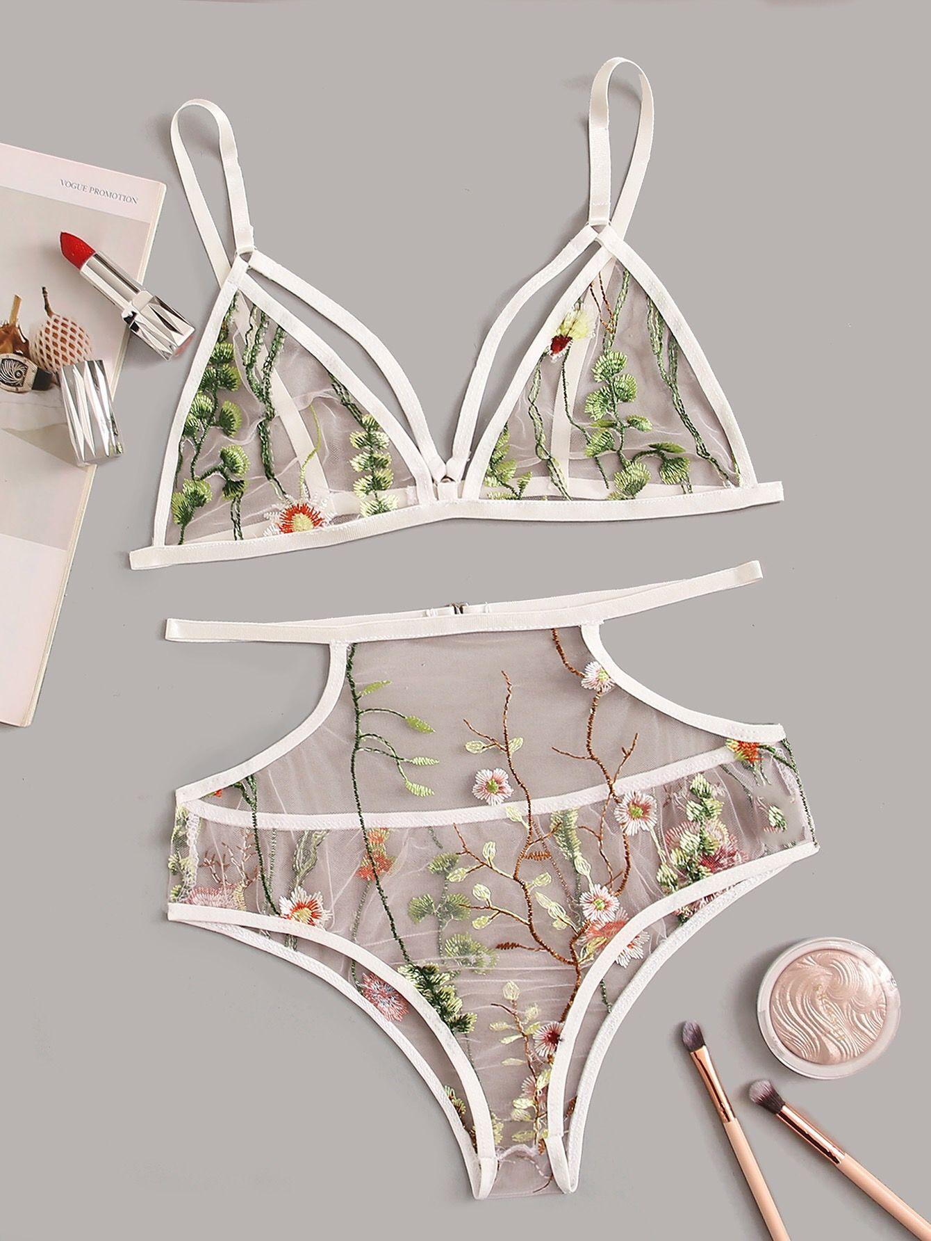 Прозрачный комплект женского белья кружевной нижнее белье