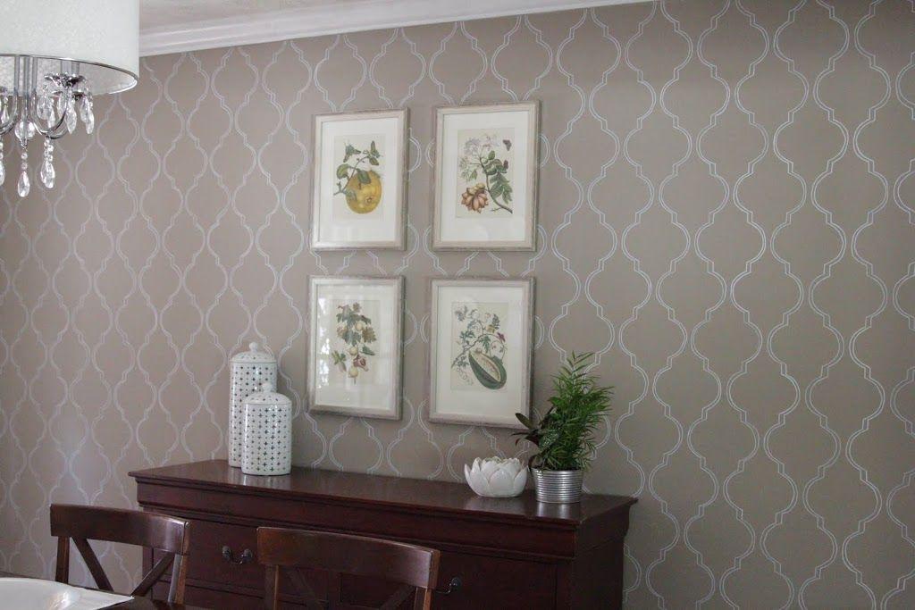 Stenciled Wall Wallpaper Accent WallsDining Room