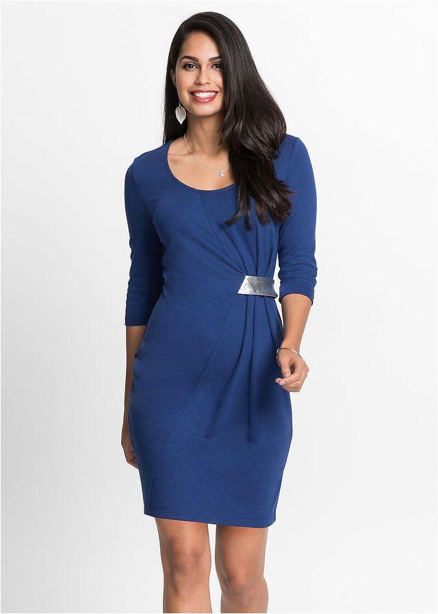 b29b6edad0 Sukienka z dżerseju z aplikacją • kobaltowo-srebrny • bonprix sklep ...