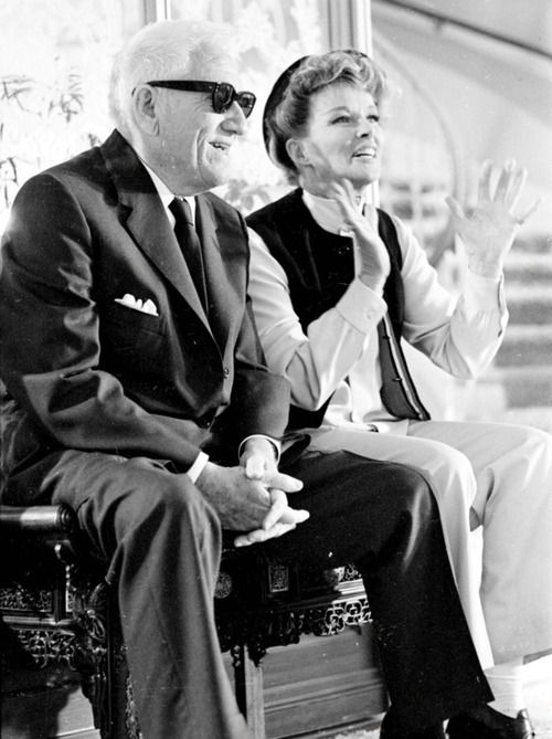 "Hepburn and Tracy on the of their ninth and final film ""Guess Who's Coming to Dinner."""