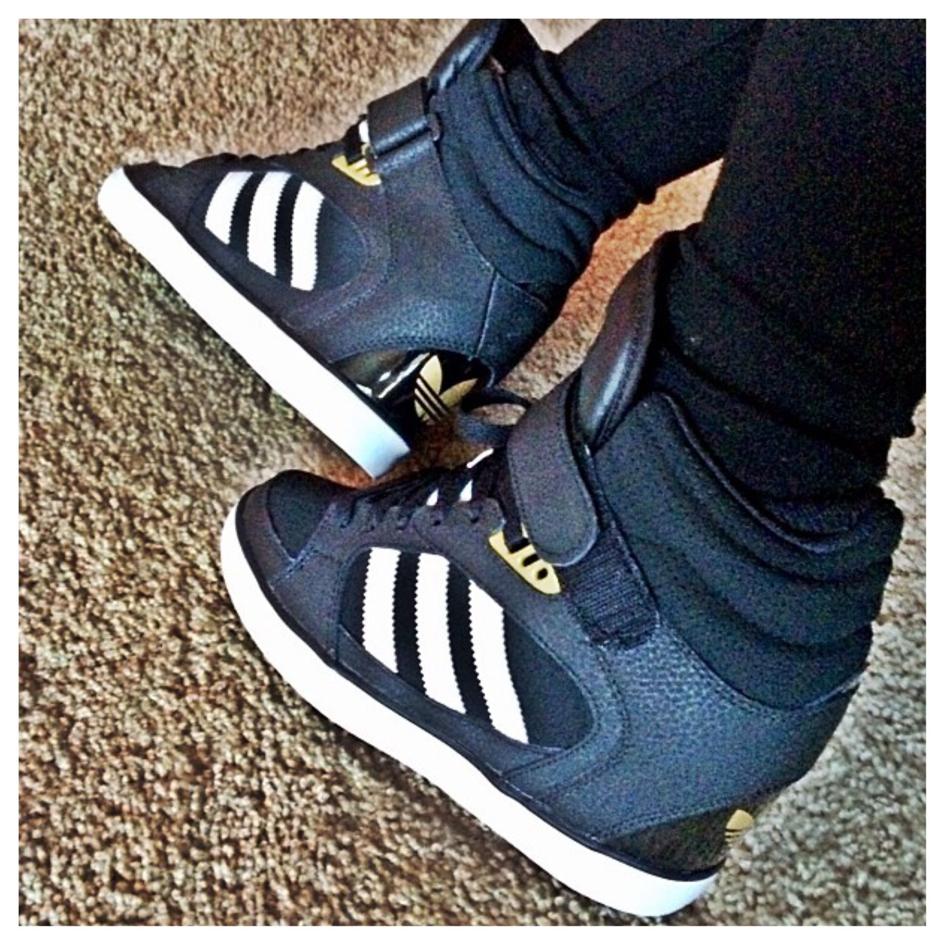 adidas black wedge trainers uk