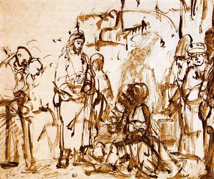 demonic sitting at Jesus feet | Rembrandt Harmensz. van Rijn: Martha and Mary at Jesus' Feet