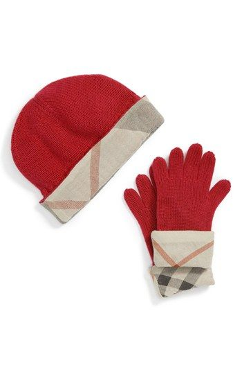 a9e3795992c Burberry Cashmere Blend Hat   Gloves Gift Set (Girls) available at   Nordstrom