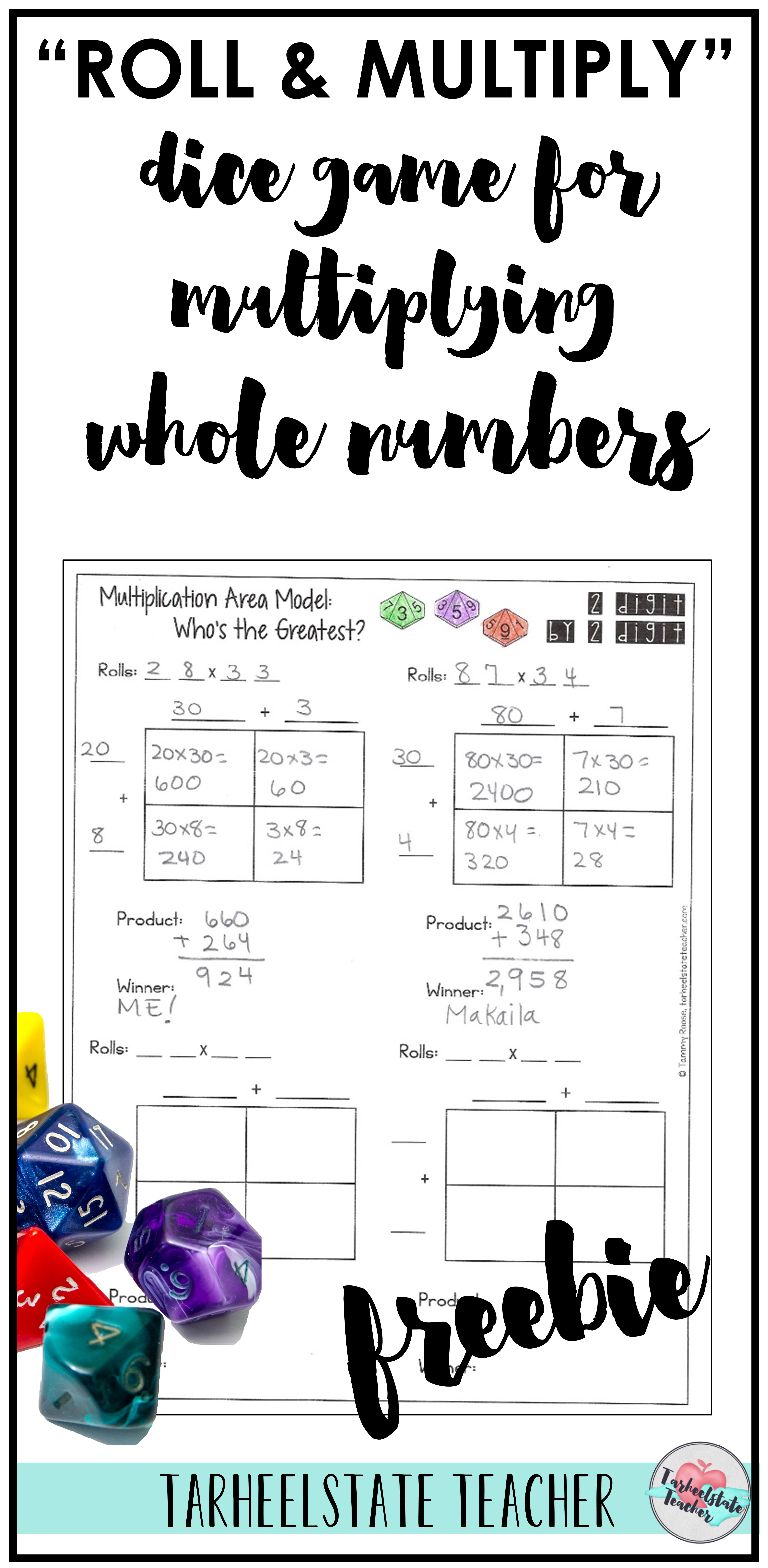 Roll And Multiply Free Dice Game For Multiplying Whole Numbers