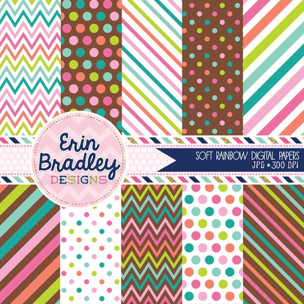 Soft Rainbow Digital Paper Pack with Polka Dots Chevron Stripes