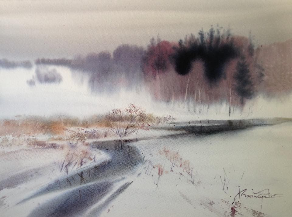 Ihor mosiichuk aquarelle - Paysage enneige dessin ...