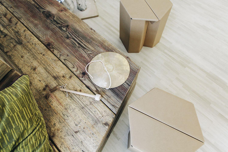 Hocker MAKS natur 4 Stück | Karton-möbel, Hocker, Pappe