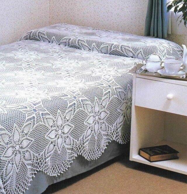 crochet dessus de lit fleurs dentelle tutoriel gratuit bordure festonn dessus de lit et. Black Bedroom Furniture Sets. Home Design Ideas