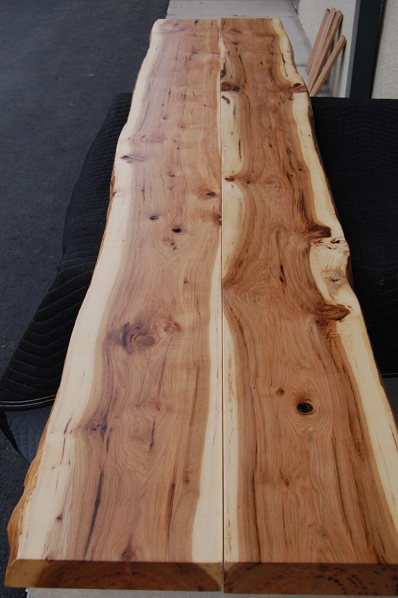 Reclaimed Lumber, Live Edge Hickory Slab   Perfect For A Long Bar/table Top