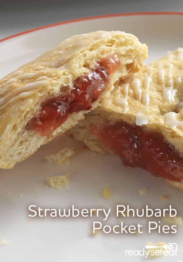 Pastry filled with strawberry rhubarb pie filling, baked and topped with vanilla glaze