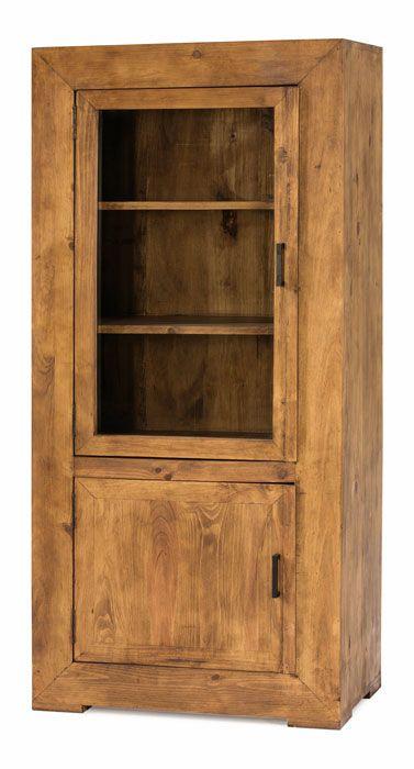 Vitrina r stica peque a en madera de pino de 1 puerta de for Muebles de pino precios