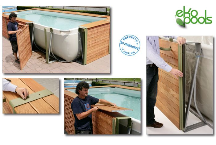 Piscine fuori terra rivestite in legno qualit e for Interrare piscina intex