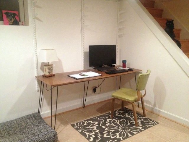 6 Foot Long Diy Hairpin Leg Desk The Borrowed Abode Hairpin Leg Desk Hairpin Legs Diy Hairpin Legs