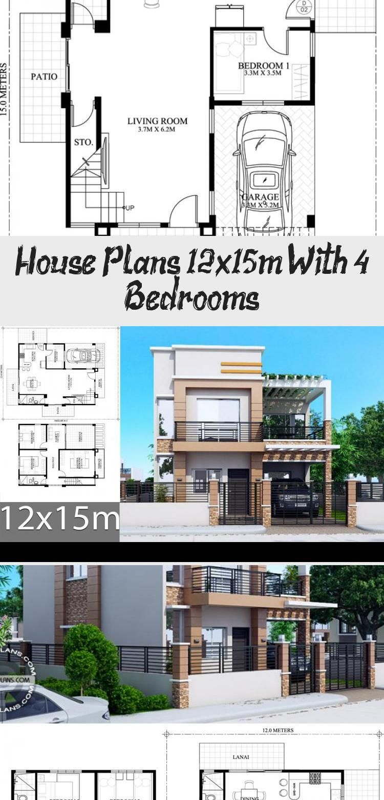 House Plans 12x15m With 4 Bedrooms House Idea In 2020 Simple House Plans House Plans Small House Design