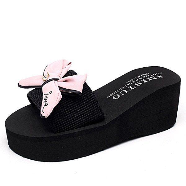06a8952a3a31 GIY Women Bowknot Bohemian Platform Slide Sandals Thick Bottom Anti-slip  Summer Beach Wedge Sandals