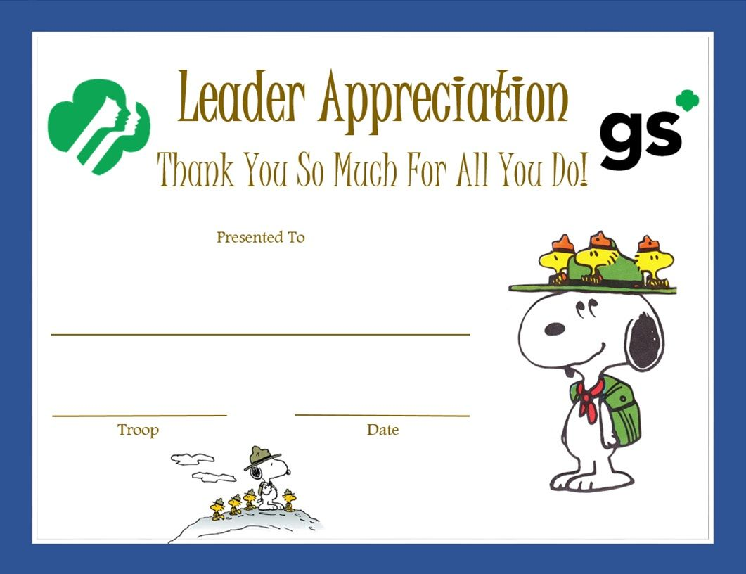 Leader Appreciation Certificate  Beaglescout  Girl Scouts