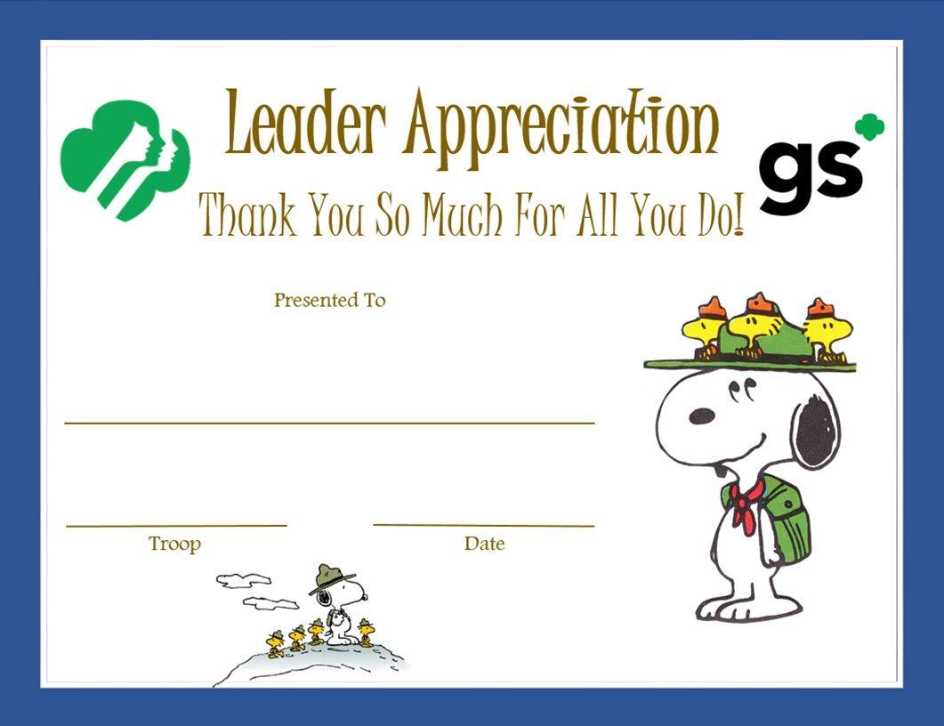 leader appreciation certificate beaglescout girl