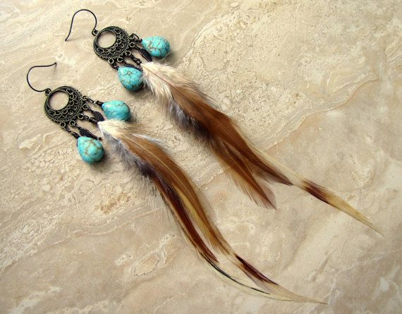 Long Feather Earrings  Chandelier Feather by peacefrogdesigns, $28.00
