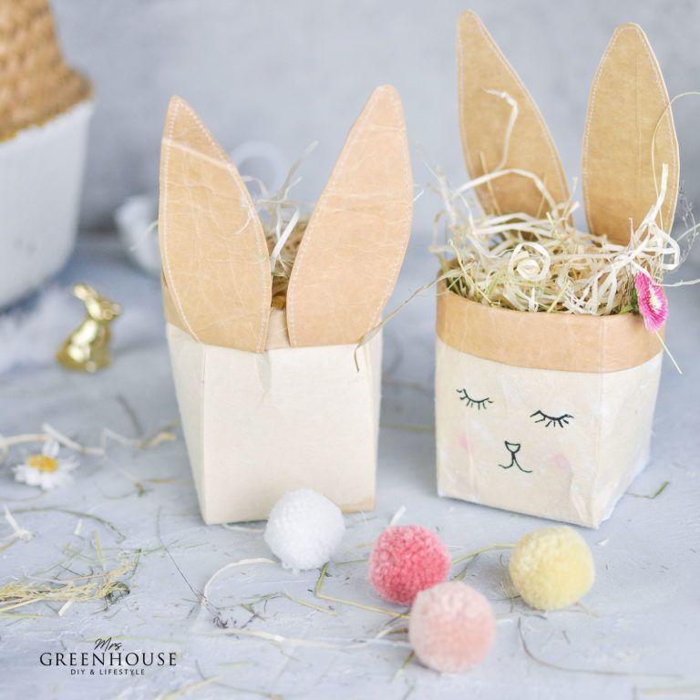 Osterkörbchen Milchtüten Bunny basteln mit Anleitung