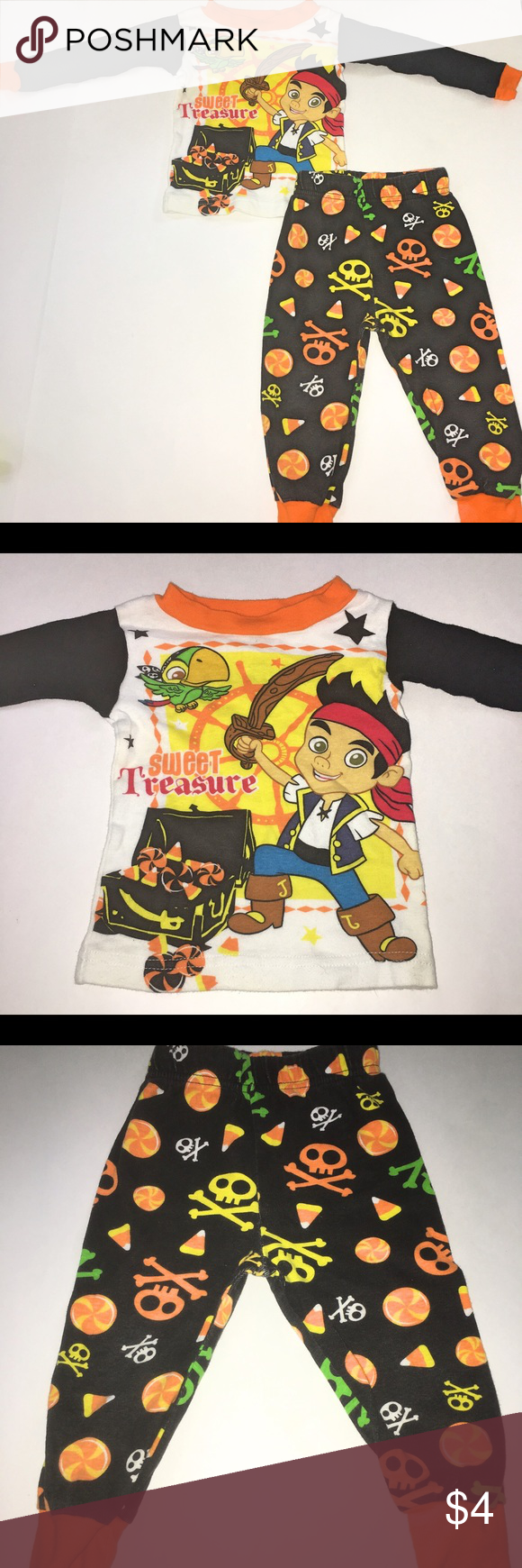 disney jake and the neverland pirates pajamas gently used halloween pjs with long sleeved shirt and pants to match these pjs show normal wear but have no
