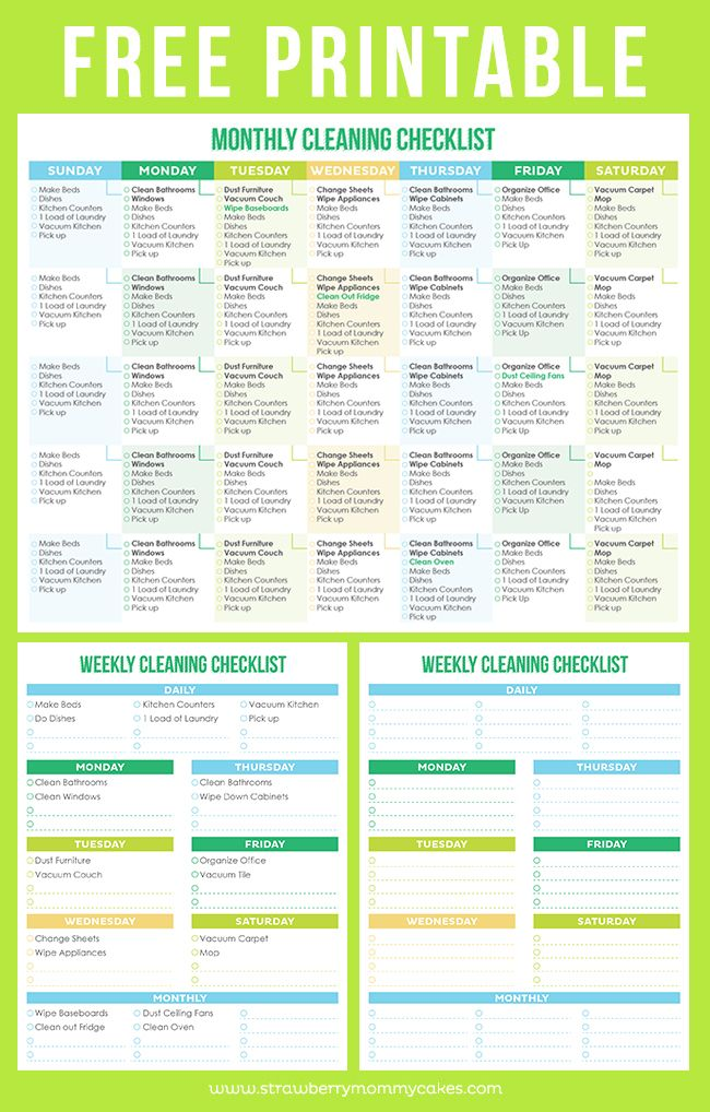Maintain a Clean Home Printable Cleaning Schedule Cleaning - weekly checklist