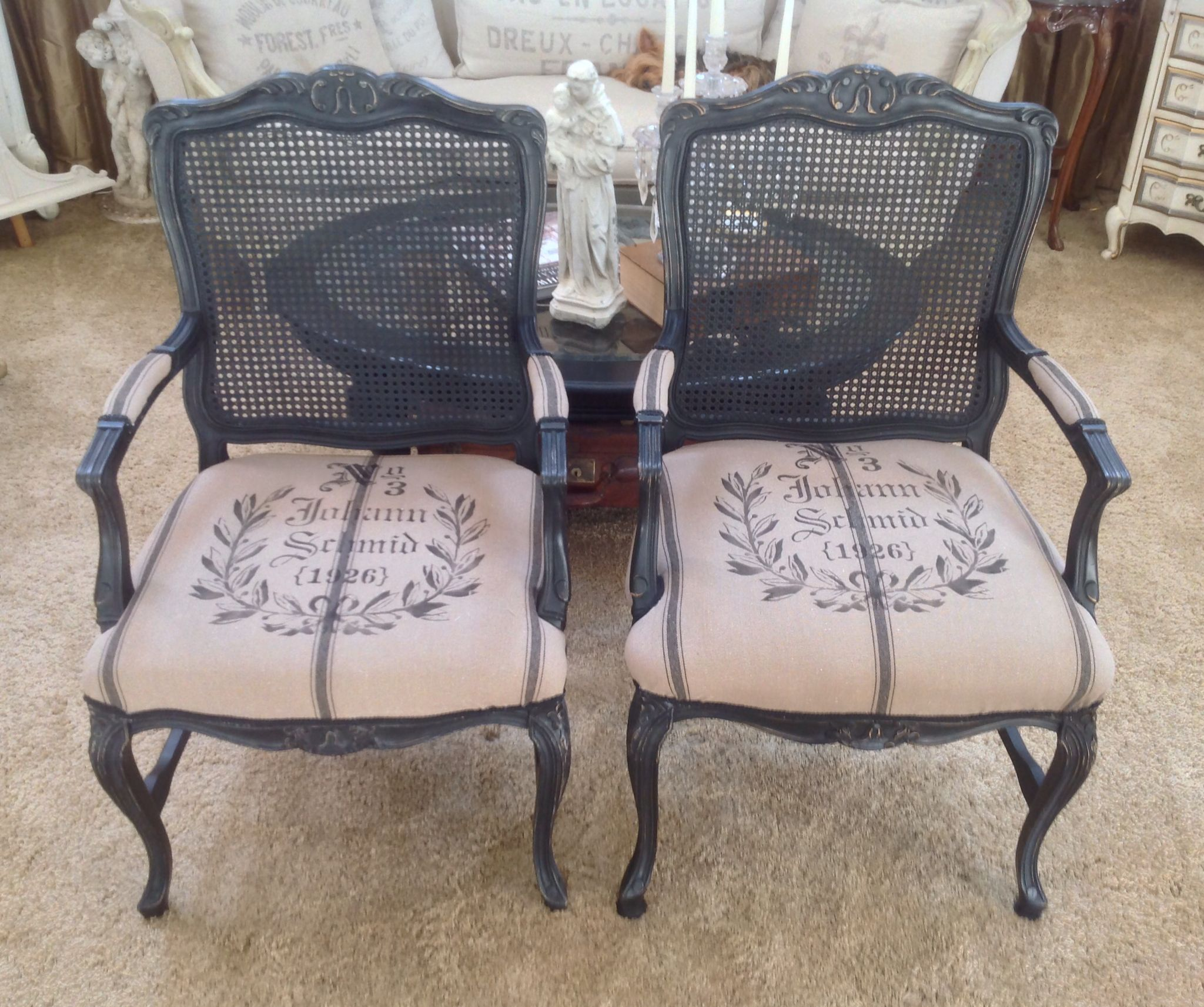 Antique cane chair styles - French Style Cane Chairs After Spray Painted With Flat Black Distressed Recovered With New