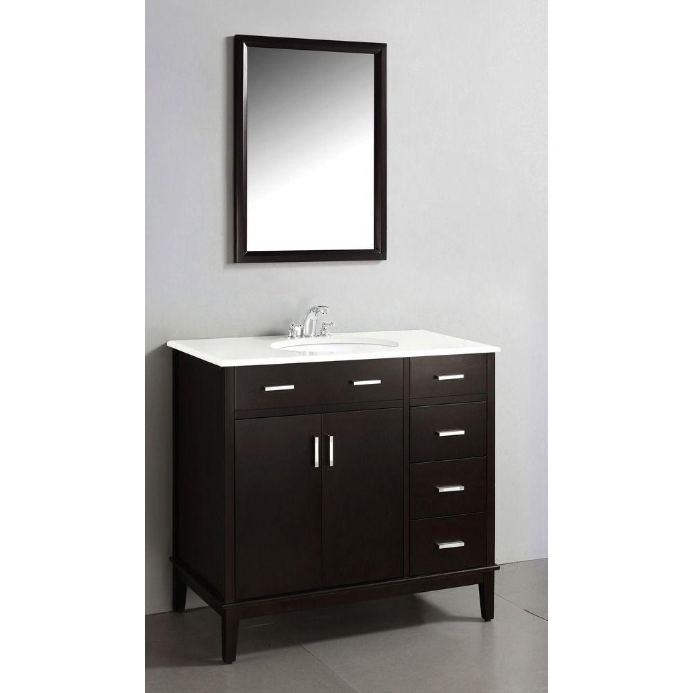 Oxford Dark Espresso Brown 36 Inch Bath Vanity With 2 Doors And White Quartz Marble Top