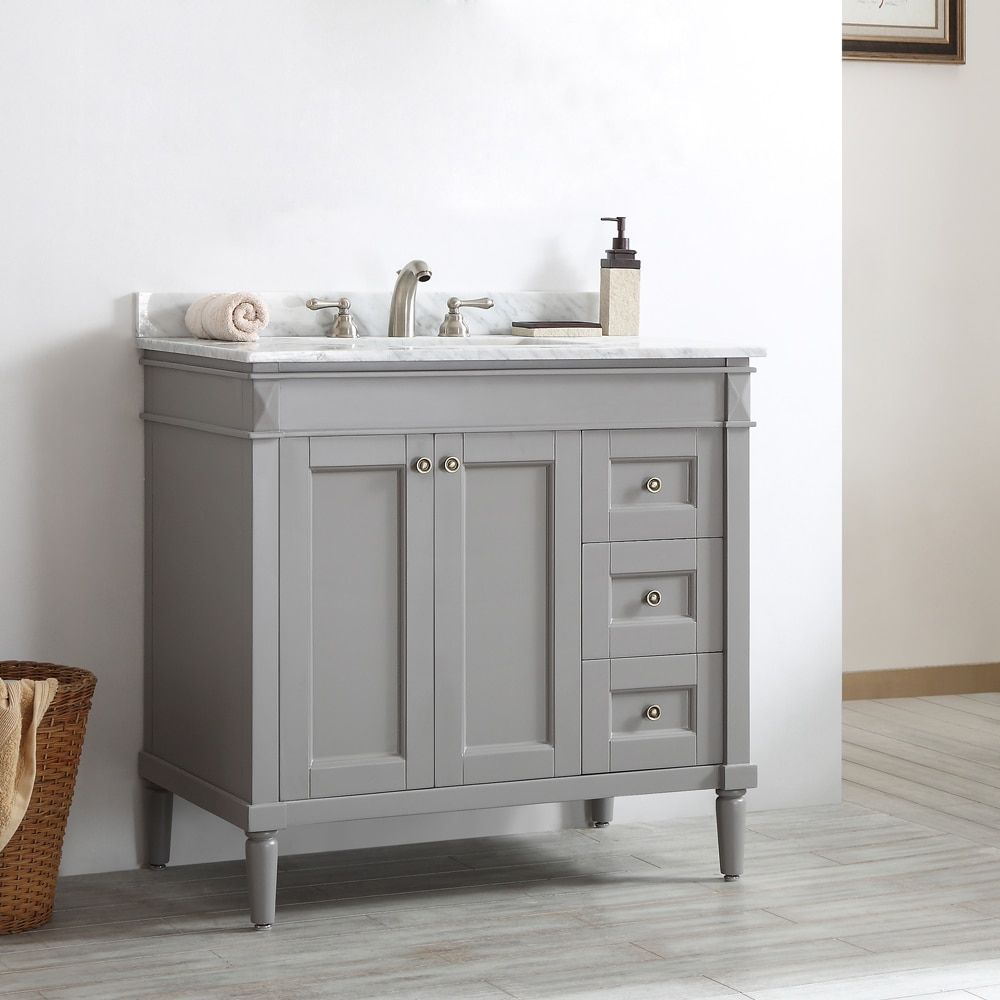 Catania Grey White Carrara Marble Top 36 Inch Single Vanity Single Vanities Carrara Marble