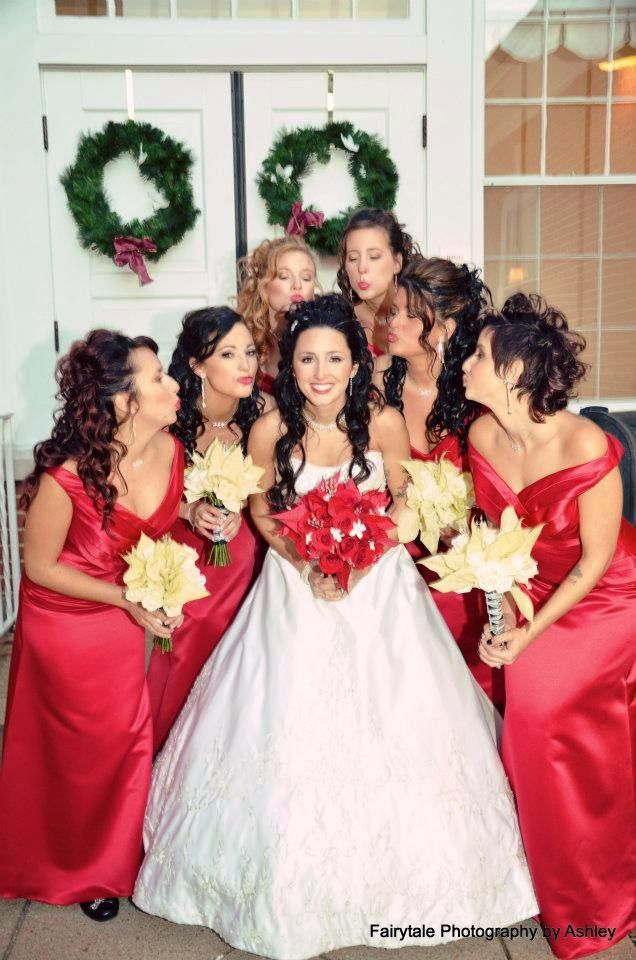 Image Detail For Bridal Party With White Poinsettia Bouquets