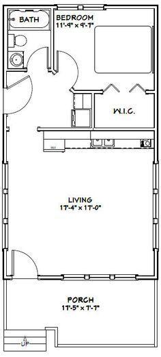 18x32 Tiny House -- 576 sqft -- PDF Floor Plan -- Model 1D Tiny