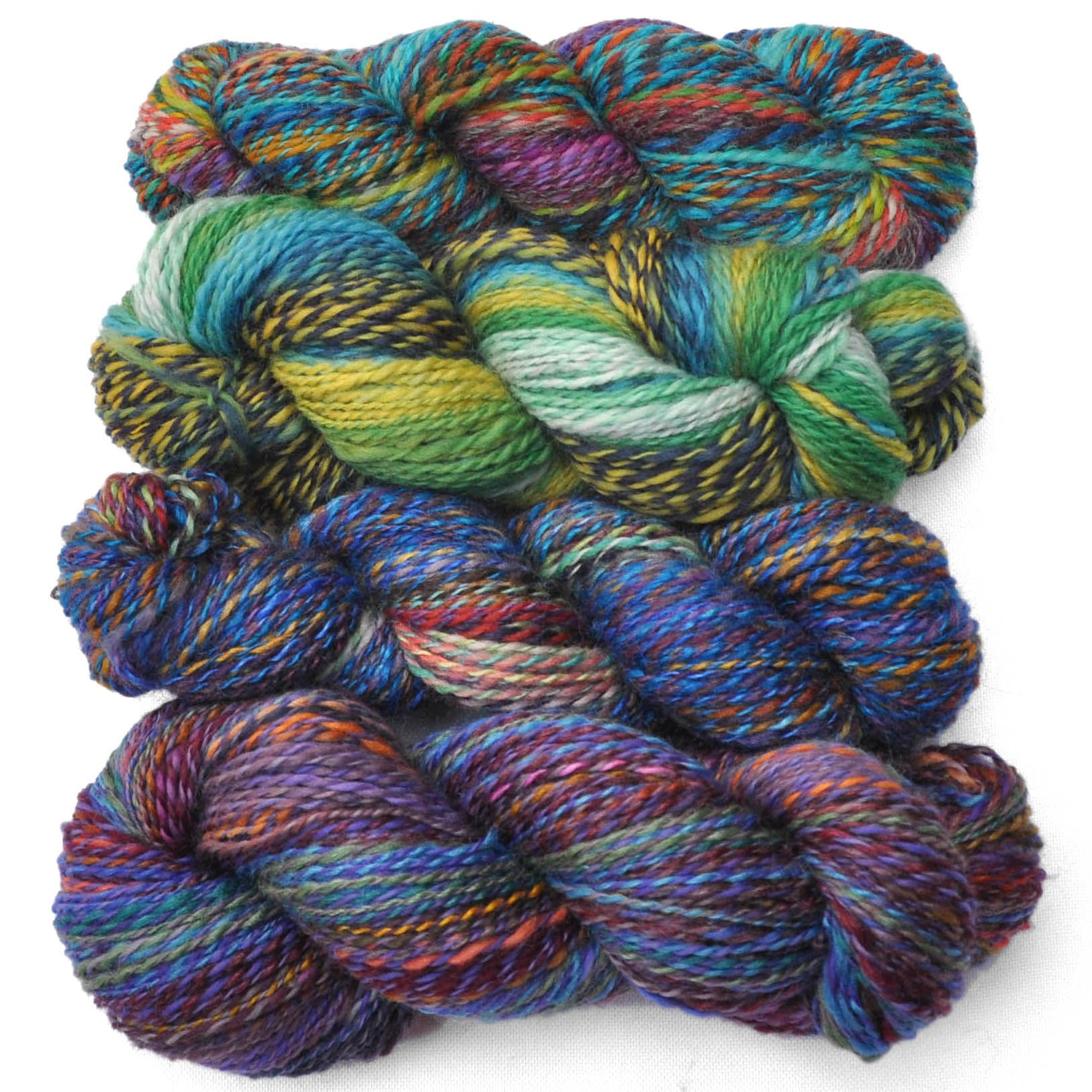 Patchwork handspun yarns, made from bits and pieces that didn't fit into other skeins