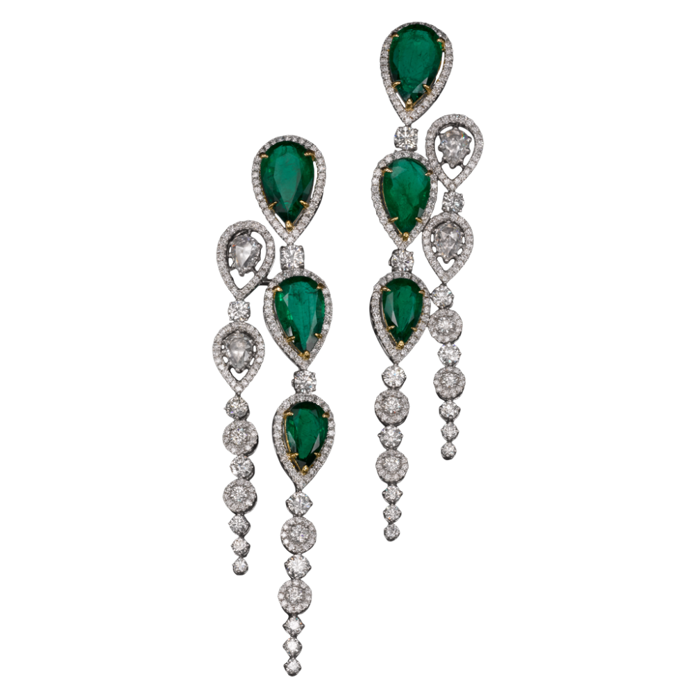 Stunning emerald and diamond chandelier earrings by butani stunning emerald and diamond chandelier earrings by butani indulge in elegance arubaitofo Image collections