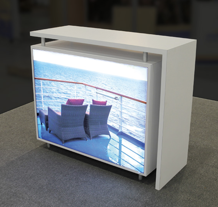 Portable Exhibition Lighting : Modular lightbox hybrid counter a exhibition booth and