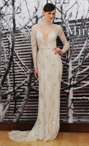 Plunging V-neck wedding dress from Mira Zwillinger  | 17 Sexy Wedding Dresses That Rocked the Runways