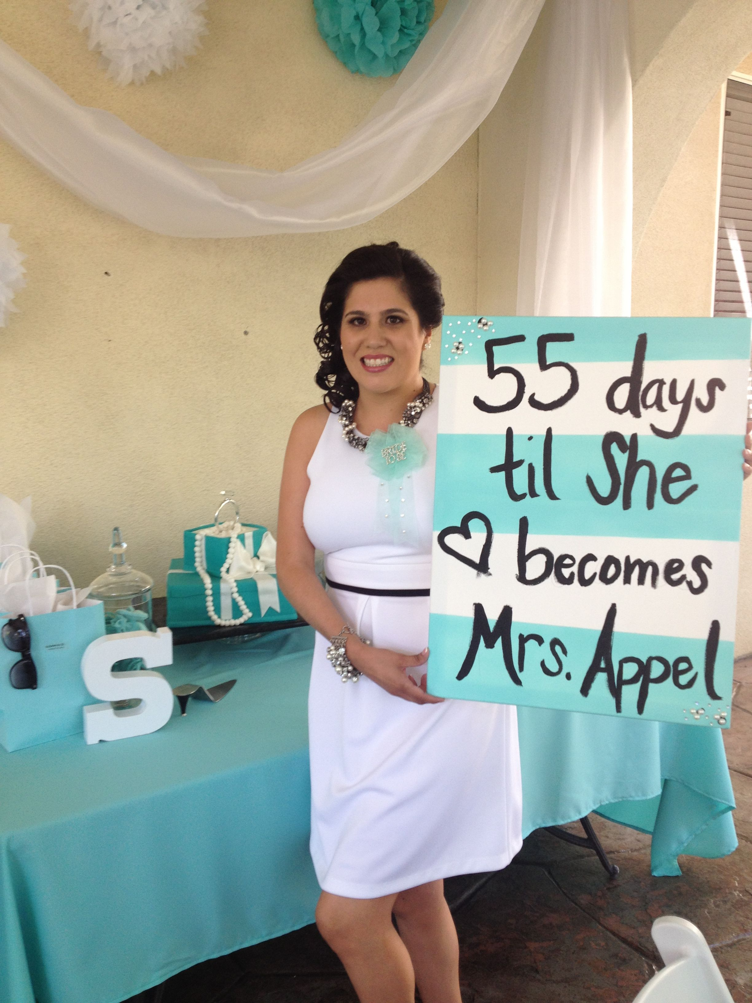 tiffany theme bridal shower countdown sign