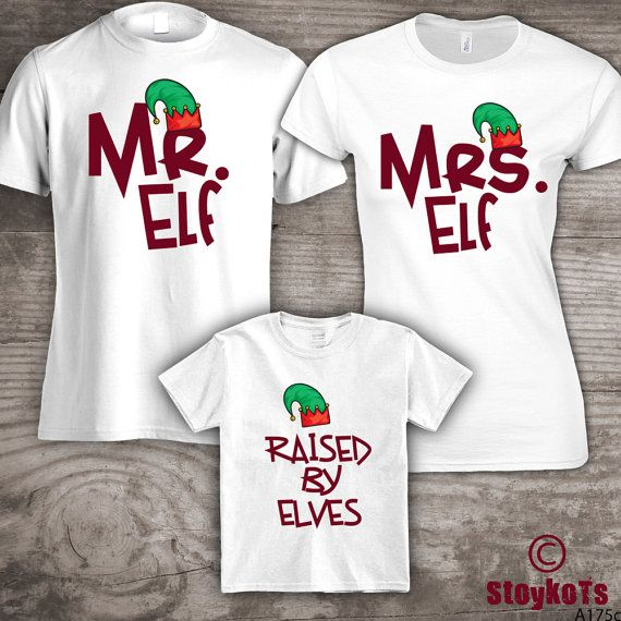 Personalized Christmas Family T Shirts Raised By Elves Mom Dad