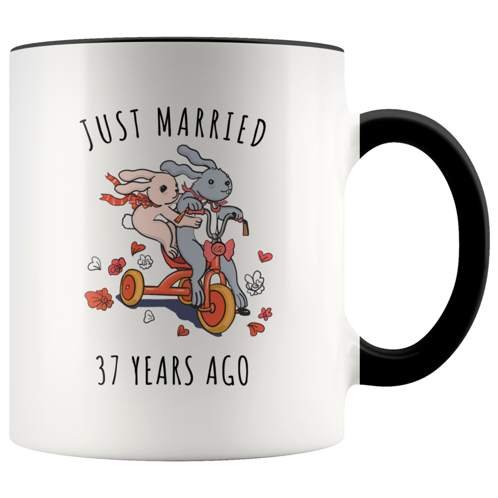Just Married 37 Years Ago 37th Wedding Anniversary Gift Accent Mug Wedd 29th Wedding Anniversary 10th Wedding Anniversary Gift 35th Wedding Anniversary Gift