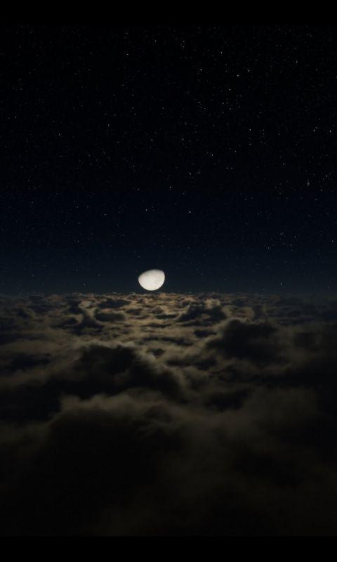 Half Moon Clouds Dark Night 480x800 Wallpaper Clouds 480x800 Wallpaper Landscape