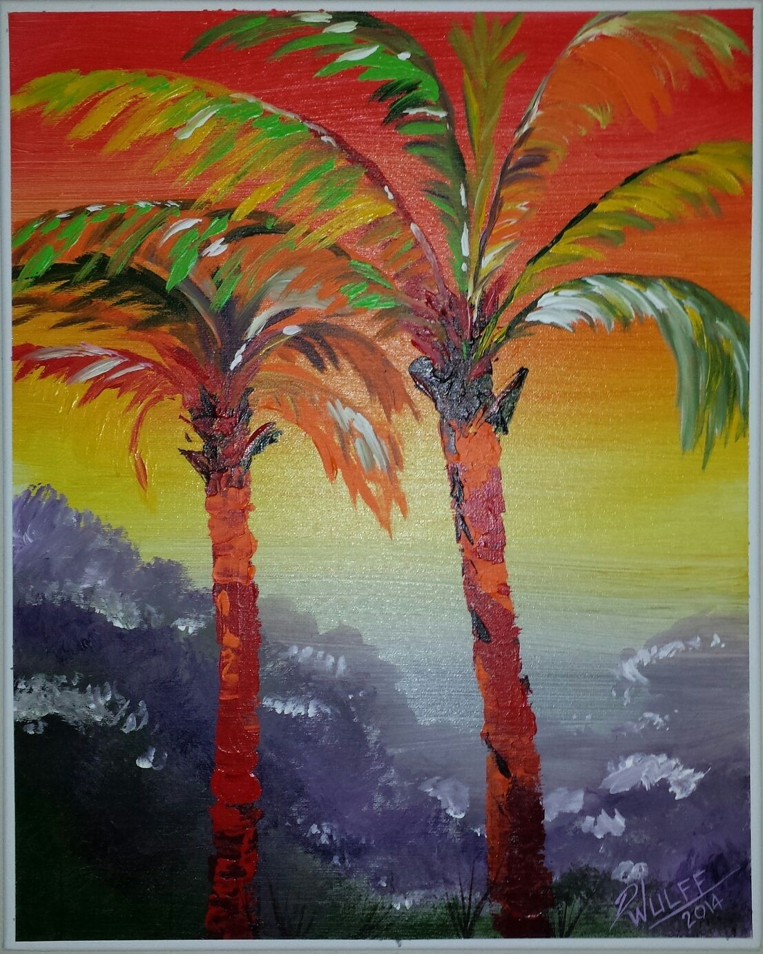 Palm tree painting acrylic the image for Painting palm trees