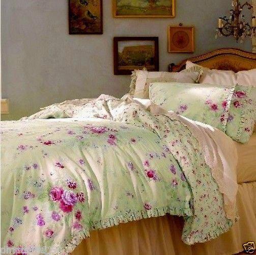 New 3 Pc Simply Shabby Chic King Green Duvet Cover Pillow Ruffle Shams Set Rachel Ashwell Shabby Chic Shabby Chic Bedrooms Green Duvet Covers